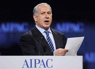 Netanyahu reads quotes against Israel he attributed to Iran and Hezbollah as he addresses the American Israel Public Affairs Committee (AIPAC) annual policy conference in Washington