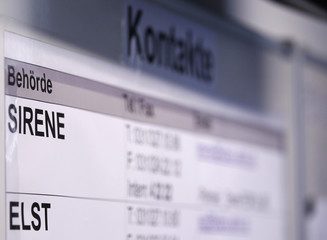 A contact board is displayed in the office of Fedpol with the Schengen Information System SIRENE during a press visit in Bern
