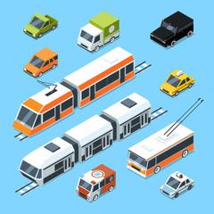 Isometric municipal transport set. Vector illustration isolate on white background