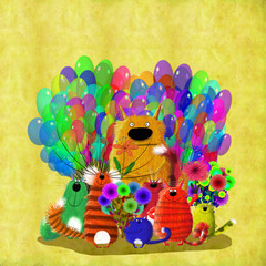 Jolly Crowd Of Colorful  Cats With Flowers Among Balloons