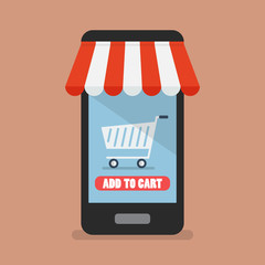 Add to cart shopping online concept