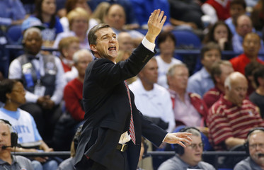Maryland Terrapins coach Turgeon gives instructions against the Duke Blue Devils during ACC Championship game in Greensboro