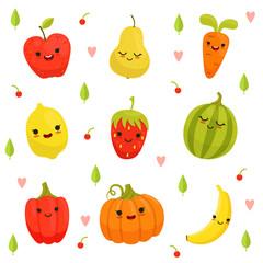 Vector mascot design of cartoon fruits and vegetables