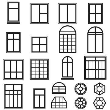 set of black window icons