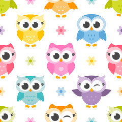 pattern with cute colorful owls and flowers