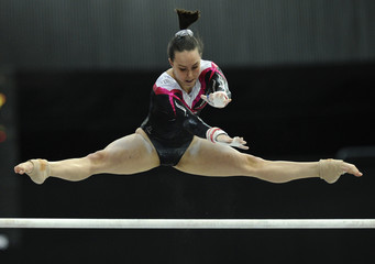 Tweddle of Britain performs during the women's uneven bars finals at the Artistic Gymnastics World Championships in Rotterdam