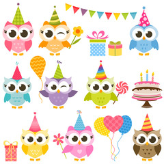 set of cute colorful owls on Birthday party
