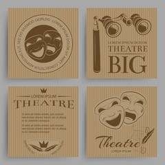 Vintage theatre cards collection with theatre symbols