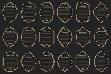 Vector set of vintage golden frames on dark background