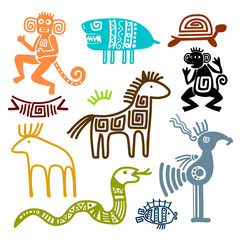 Aztec and maya ancient animal symbols
