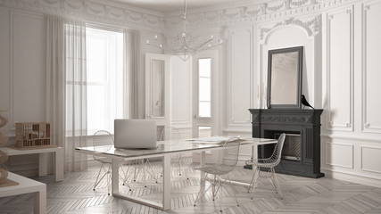 Modern minimalist office in classic vintage room with fireplace, luxury white and gray interior design