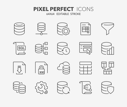 database thin line icons