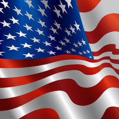 Image of American Flag, Symbol USA on a White Background, Stars and Stripes Illustration.
