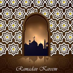 Islamic design mosque door for greeting. Vector background Ramadan Kareem