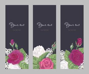 Set romantic vertical narrow banner to wedding, birthday, Valentines day, mothers day, vector illustration, burgundy and white roses, buds leaves on dark background