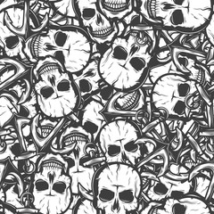 seamless pattern with skulls. Vector illustration background. Black and White