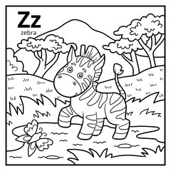 Coloring book, colorless alphabet. Letter Z, zebra
