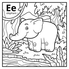 Coloring book, colorless alphabet. Letter E, elephant