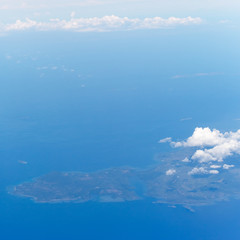 View from the wing of the aircraft to the Calauit island and illutuk Bay, Philippines