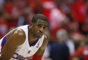 Los Angeles Clippers Paul reacts during their loss to the Memphis Grizzlies in Game 5 of their NBA Western Conference Quarterfinals basketball playoff series in Los Angeles