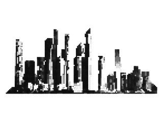 The silhouette of the city. Skyscrapers, High-rise buildings, halftone dot Monochrome city vector illustration