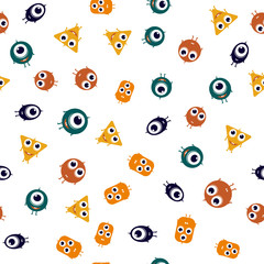 Cute monsters seamless pattern. cool print vector illustration