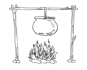 Bonfire. Cauldron hanging over the fire. Vector illustration of a sketch style.