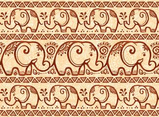 Henna mehndi style vector tiny elephants seamless pattern