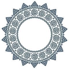 Ornate tribal style sun mandala grunge vector round frame
