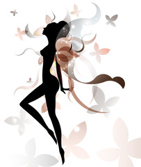 shape of beautiful woman icon cosmetic and spa, logo women on white background, vector