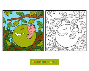 Coloring book, Worm in apple