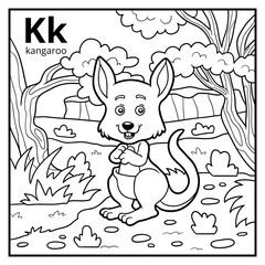 Coloring book, colorless alphabet. Letter K, kangaroo