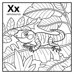 Coloring book, colorless alphabet. Letter X, xenosaurus