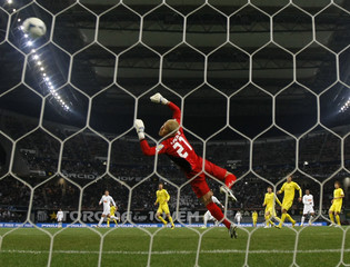 Goalkeeper Takanori Sugeno of Japan's Kashiwa Reysol fails to block a shot from Borges of Brazil's Santos during their FIFA Club World Cup soccer semi-final match in Toyota