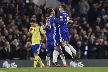 Chelsea's Eden Hazard celebrates scoring their fourth goal with Cesar Azpilicueta