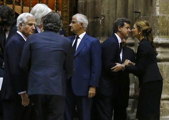 Son of Spain's Duchess of Alba Cayetana Fitz-James Stuart y Silva, Cayetano Martinez de Irujo Fitz-James, greets Infanta Elena during the funeral in a cathedral of the Andalusian capital of Seville