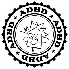 ADHD stamp - positive confirmation and certification of diagnosis. Mental disorder - hyperactivity and inattention. Labelling of patient