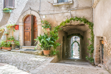 Small square in Roviano, comune in the Metropolitan City of Rome in the Italian region Latium, located about 45 kilometres northeast of Rome.