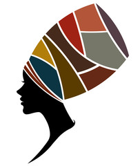 African women silhouette fashion models on white background