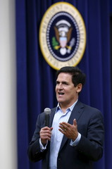 Businessman Mark Cuban, owner of the Dallas Mavericks, speaks at an event recognizing emerging global entrepreneurs at the White House in Washington