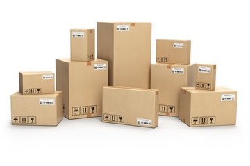 Cardboard boxes isolated on white. Delivery, cargo, logistic and transportation warehouse storage  concept.
