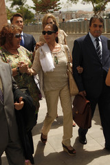 Spanish singer Pantoja leaves a court after her trial in Malaga