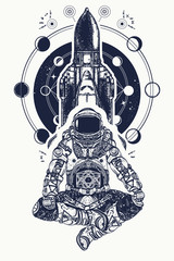 Space shuttle and astronaut in lotus position tattoo art. Symbol of meditation, education, s