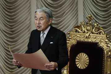 Japan's Emperor Akihito declares the opening of the extraordinary session of parliament in Tokyo