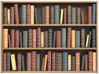 Vintage books on bookshelf isolated on white background. Education library book store concept.