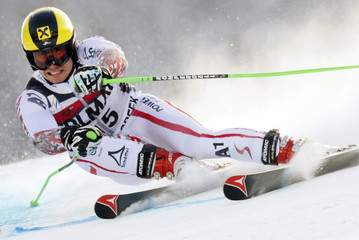 Marcel Hirscher of Austria skis to the second best time in the first run of the men's World Cup giant slalom in Beaver Creek