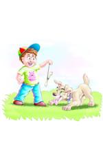 boy with a bone and a dog