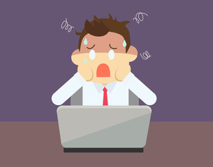 Business man cartoon face a problem about his business with laptop on desk vector illustration