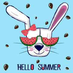 "Little cool white bunny with whiskers wears red sunglasses in green frame, a watermelon with seeds in the form of hearts, text ""hello summer"", blue background. for t-shirts, phone case, mugs,wall art."