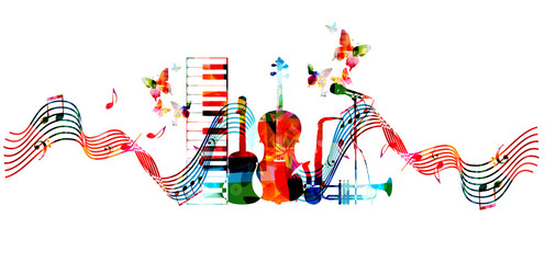Music instruments background. Colorful microphone, trumpet, saxophone, violoncello, guitar and piano keyboard isolated vector illustration